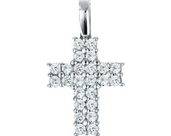 Sterling Silver Double Row Cross Pendant with Cubic Zirconia