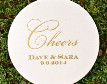 "Personalized ""Cheers"" Wedding Coasters, Custom Coaster, Paper Coaster, Drink Coasters, Party Favor Coasters, Anniversary"