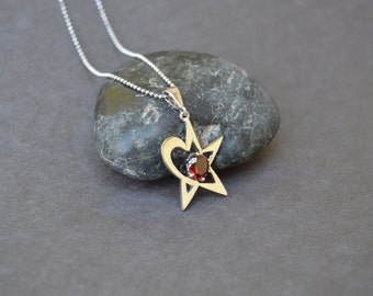Star Heart Necklace with red garnet