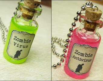 Zombie Virus & Antivirus 2ml Bottle Necklace Charm Set - Cork Vial Pendant  - Christmas Potion Walking Dead - Friendship Zombies Set