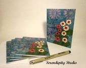 Pack of 5 blank note cards - Be Your Own Kind of Beautiful, hollyhock flowers, mixed media, inspirational art, greeting cards