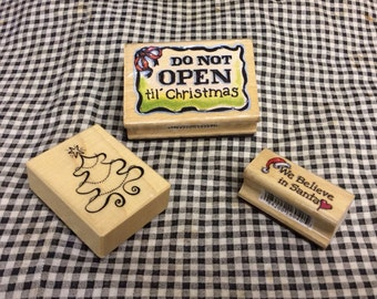 Set of 3 Christmas Rubber Stamps. Do not open till Christmas, tree, we believe in Santa.