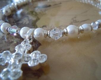 Swarovski  Freshwater PearlNecklace, Swarovski Cross Necklace, Religious Necklace