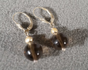 Vintage Sterling Silver 2 Fancy Faceted Round Smokey Quartz 2 Cultured Pearl Lever Back Style Dangle Pierced Earrings