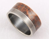 Elegant rustic wedding band ring - mens wedding ring,engagement ring,silver and copper,unique mens ring,man ring
