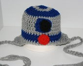 R2D2 Star Wars 'Inspired' Crochet Earflap Hat. Robot character.