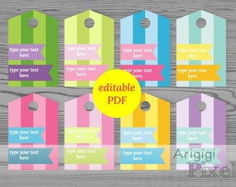 editable PDF tags, striped gift tags, spring colors tags, custom text hang tag, edit text yourself, Easter candy tags