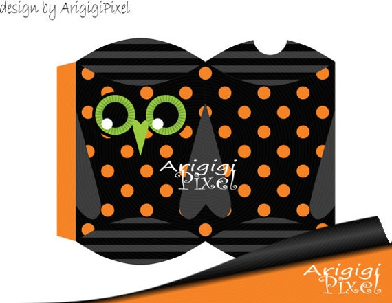 Printable pillow gift box halloween owl treat box diy for Owl pillow box template