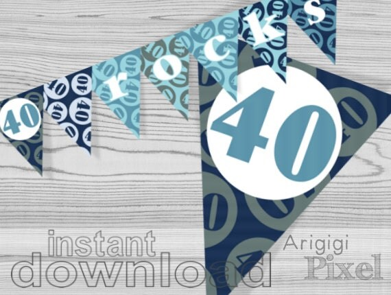 40th birthday banner 40 rocks printable blue birthday party