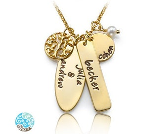 Personalized Family Tree Necklace in 18k Gold Plated on Sterling Silver