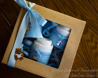 It's a Boy, Baby Shower Diaper Cake Gift, Diaper Cake, Mini Diaper Cakes, Diaper Cupcake Gift Box