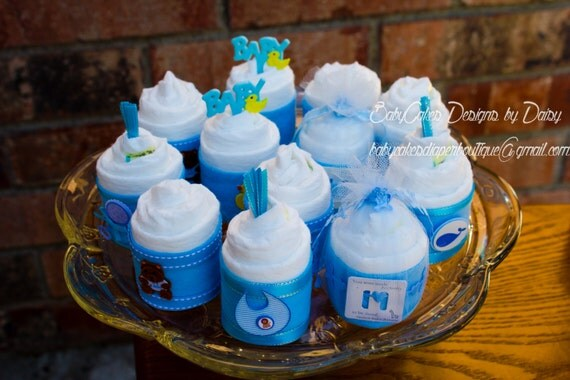 Mini Diaper Cupcakes | Baby Boy Diaper Cupcakes | Baby Boy Shower Favors | Mini Diaper Cakes | It's a Boy | Baby Shower