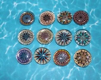 Geocache Glass Stone Refrigerator Magnets - Compass Set