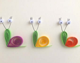 Snails card, quilled art, greeting card, blank card, insects, animals