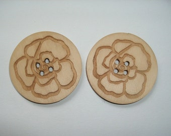 2 Wooden Buttons, 4 cm (15-0001C)