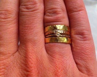 18kt & 14kt Gold Stacking Rings~18kt Gold Diamond Ring~ Set of 4 Gold Rings~ Stacking Diamond Engagement Rings~ Tiny Diamond Gold Ring