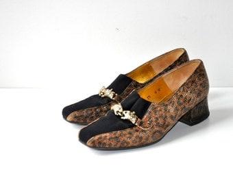 Vintage 80's Leopard Black Flats Loafers
