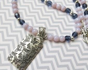 Large Pendant Necklace, Silver Pendant Necklace, Butterfly Pendant Necklace, Butterfly Jewelry,  Lavender Bead Necklace
