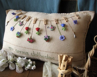 My Spring Clothesline Pillow (Cottage Style)