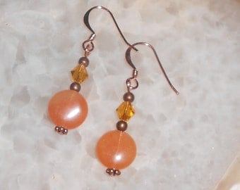 Handcrafted Orange Aventurine and Crystal Pierced Earrings
