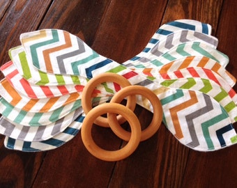 Natural Maple Wood/Ears/Teething/Teether/Ring/Toy/Chew ~ Chevron//Gender Neutral//Rainbow//Woodland//Geometric//Native