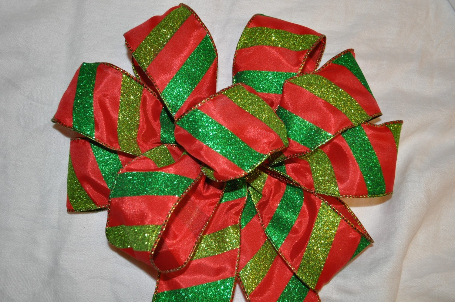 Red, Kelly Green, & Lime Green Striped Christmas Bow for Wreaths, Swags, Staircase, Fireplace, Home Decor, etc.