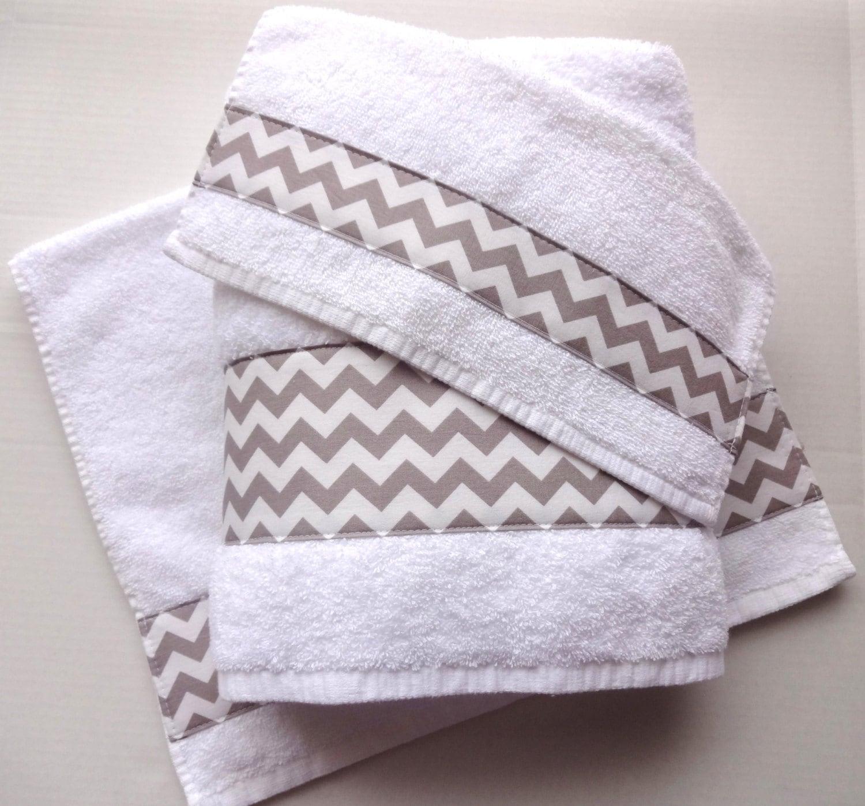Hand Towel: Grey Chevron Towels Hand Towels Chevron Grey Bathroom