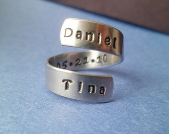 Customized - Wrapped Ring - Hand Stamped