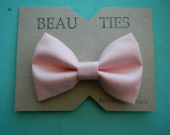 Adult mens clip on bow tie blush pink