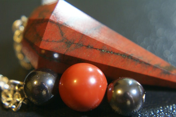 Red Hematite Beads Red Jasper Pend...