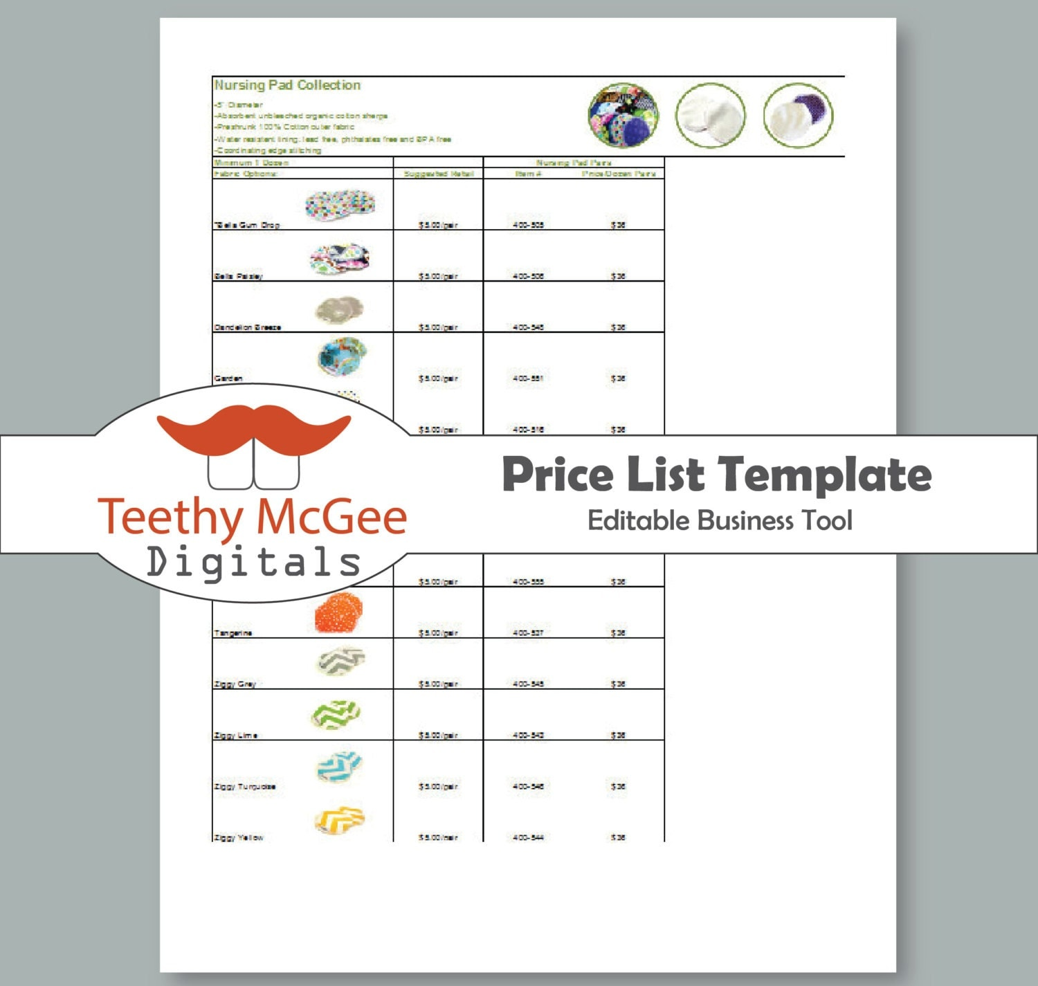 Price list template instant download by teethymcgeedigitals for Etsy shop policies template