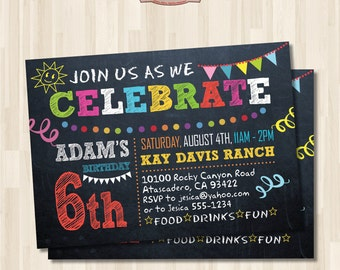 Chalkboard Birthday Party Invitation. End of Summer Party. Printable digital card.