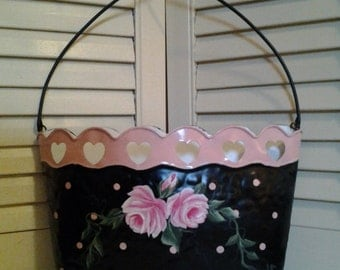 ON SALE!!!....Hand Painted Polka Dot Wall Pocket with HP Pink Roses
