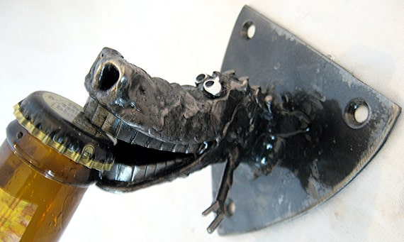 Alligator bottle opener wall mounted handmade from by planetdork - Alligator bottle opener ...