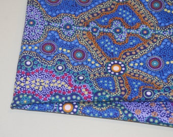 Australian Fabric -Yalke in Blue by June Smith-Ethnic Aboriginal for M and S Textiles 100% Quality Cotton - Yardage