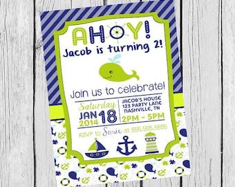 Green and Blue Nautical Themed Birthday Invitation - DIGITAL FILE