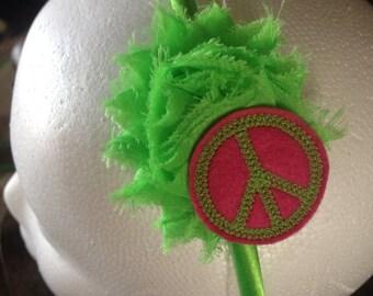 Peace sign and shabby headband - lime green