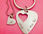 I Pick You Guitar Pick with Heart cutout necklace- Hand Stamped using Stainless Steel