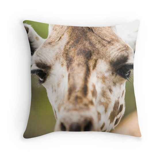 Zoo Animal Pillows : Items similar to Baby Giraffe Throw Pillow Case Cover Head of Giraffe Wildlife Zoo Animal Custom ...