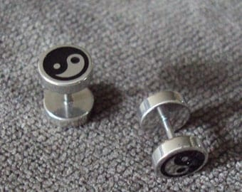 SALE Ying & Yang Stainless Steel Barbell Stud Earrings BDSM Kink Fetish Jewelry Bondage