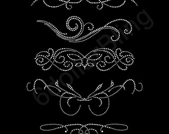 Swirls Set #1 - Rhinestone Iron-On Transfer Crystal Bling Applique Design - Set of 5 Girly Swirly Fancy Fluorish