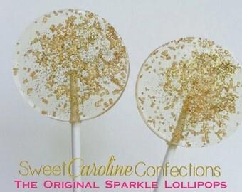 Gold Sparkle Lollipops, Gold Lollipops, Gold Wedding Favors, Hard Candy Lollipops, Gold Favors, Sweet Caroline Confections-Set of Six