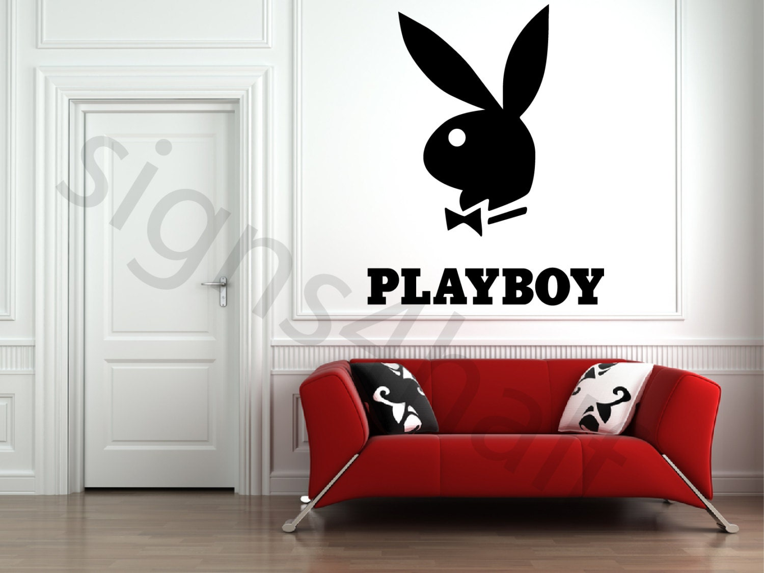 Playboy Logo Removable Wall Art Decor Decal Mural Vinyl