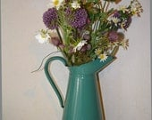 Great Piece Antique French Blue Turquoise~Vintage Enamel Pitcher ~ Vintage Enamelware ~ Flower Vase - French Enamelware