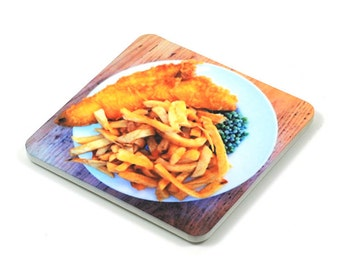 Fridge Magnet, Fish & Chips Fridge Magnet, Photo Magnet, Plastic, Square, Handmade