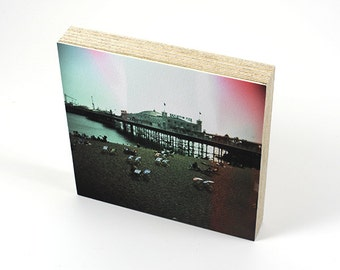 Brighton Pier with Light Leak, Print on Watercolour Paper, Mounted On Birch Plywood, Photography, Lomo, Handmade