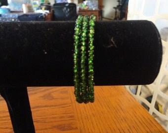 Memory Wire Bracelet-Emerald Green seed Bead