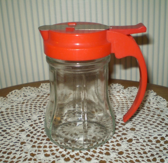Items Similar To Vintage Syrup Or Sauce Pitcher Red Lid