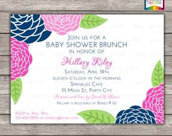 PRINTABLE Floral Brunch Baby Shower Invitation   Navy And Pink Flowers  Invite   Personalized   Digital