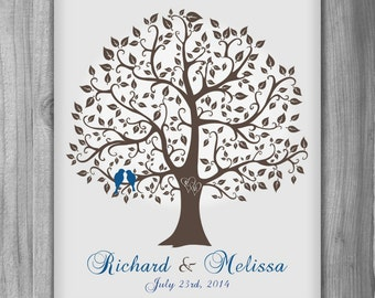 Anniversary Gift Names Love Birds Family Tree Print Wedding Gift Couple Personalized Gift Customized Art Wall Decor House Warming Gift